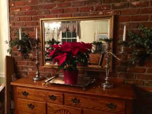 Image of poinsettia surrounded by candelabra