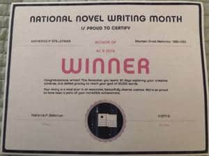 Image of National Novel Writing Month Winner Certificate