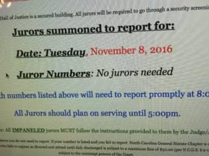 "Screen Shot Saying ""No Jurors Needed"" Nov. 8, 2016"
