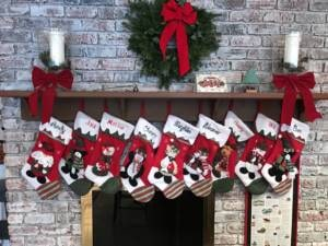 Image of stockings hung from a mantel
