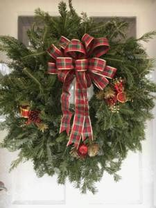 Image of Fresh Green Wreath with red plaid bow