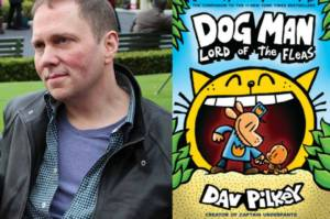 Image of Dav Pilkey and Cover of Dog Man|Dav Pilkey