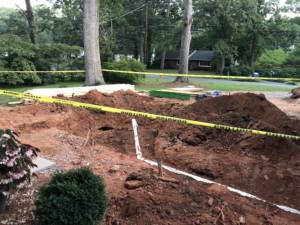 Hole with septic tank
